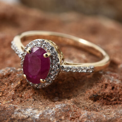 9K Yellow Gold AAA Burmese Ruby (Ovl), Natural Cambodian Zircon Halo Ring 1.350 Ct.