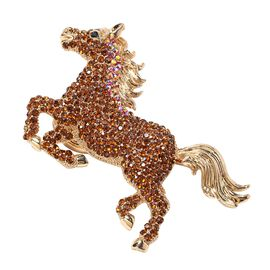 Multicolour Austrian Crystal Horse Pendant with Chain in Gold Plated