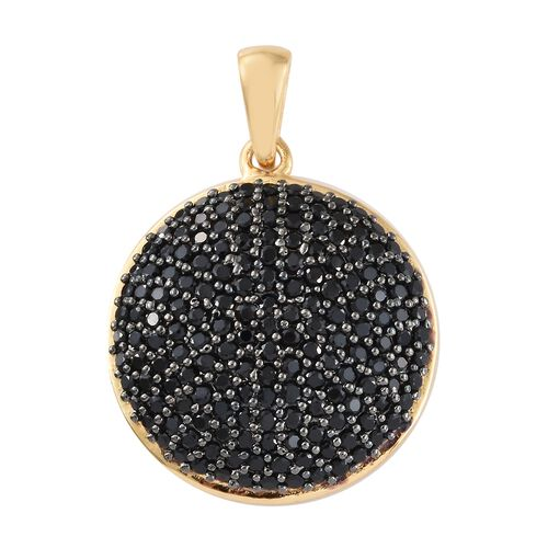 3.25 Ct Black Spinel Cluster Pendant in Gold Plated 925 Sterling Silver