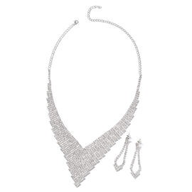2 Piece Set White Austrian Crystal Designer Necklace and Earrings 17 with 5 inch Extender