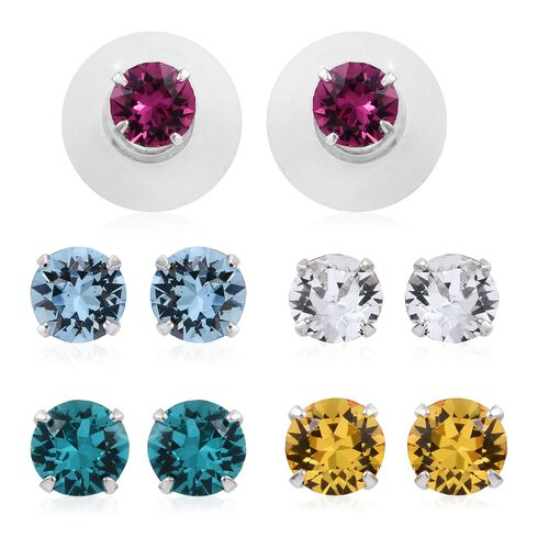 Set of 5 - J Francis Crystal from Swarovski - Multi Colour Crystal (Rnd) Stud Earrings (with 5 Push Back) in Platinum Overlay Sterling Silver