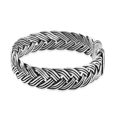 Artisan Crafted Braided Cuff Bangle (Size 7.5) in Sterling Silver, Silver wt 46.76 Gms
