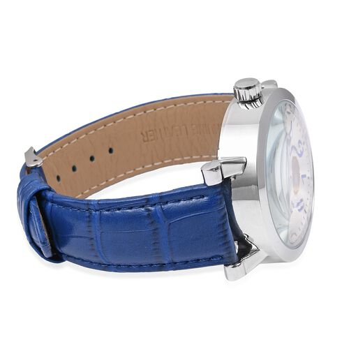 GENOA  Automatic Skeleton Water Resistant Watch with Blue Leather Strap