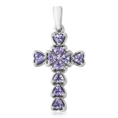 1 Carat Tanzanite Cross Pendant in Rhodium Plated Sterling Silver