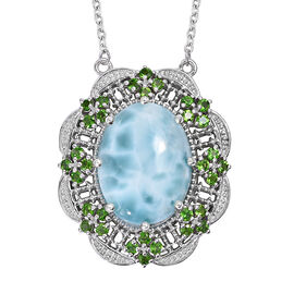 19.25 Ct Larimar and Russian Diopside Halo Necklace in Platinum Plated Sterling Silver 18 Inch