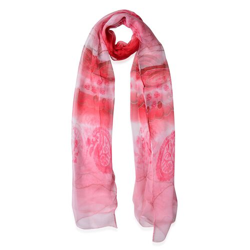 100% Mulberry Silk Pink and Cherry Red Colour Scarf (Size 170x50 Cm)