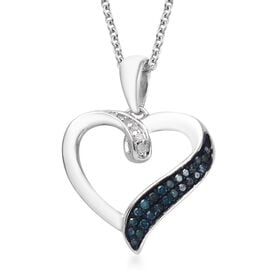 Blue diamond and Diamond Platinum Overlay Sterling Silver Pendant With Chain  0.250  Ct.