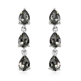 J Francis Black Diamond Crystal from Swarovski Dangle Earrings with Push Back in Sterling Silver