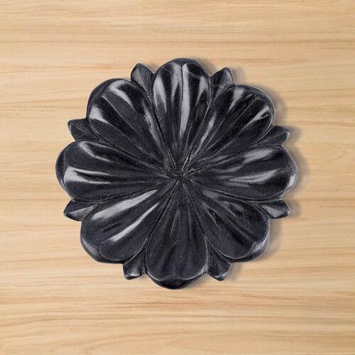NAKKASHI Hand Carved Lotus Design Marble Multi-Purpose Bowl - Black