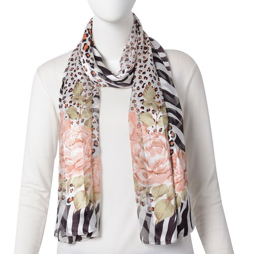 100% Mulberry Silk Mellow Rose, Black and Multi Colour Rose Flower and Leopard Print Scarf with Zebra Pattern Border (Size 170x53 Cm) (Weight 40 Gms)