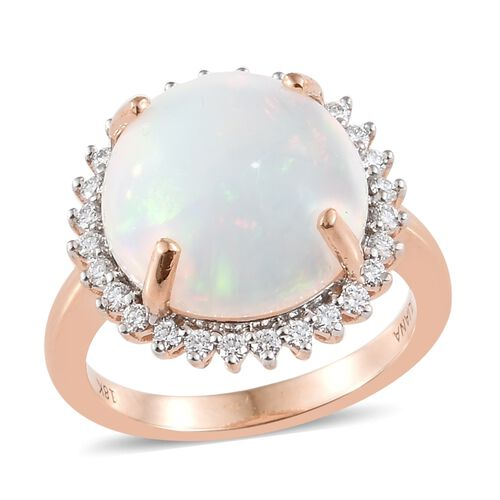 ILIANA 18K Rose Gold AAAA Ethiopian Opal (6.10 Ct) and Diamond (SI/G-H) Ring 6.450 Ct.