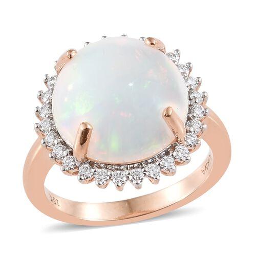 ILIANA Rare Size 6.45 Ethiopian Opal and Diamond Halo Ring in 18K Rose Gold