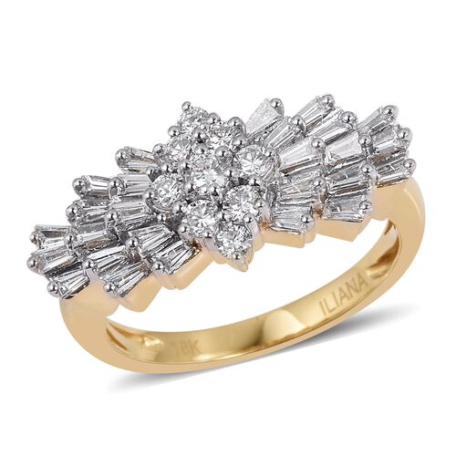 ILIANA 18K Yellow Gold IGI Certified Diamond (Rnd and Bgt) (SI /G-H) Ring 1.00 Ct.