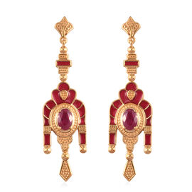 African Ruby Enamelled Dangle Earrings (with Push Back) in 14K Gold Overlay Sterling Silver 2.00 Ct,