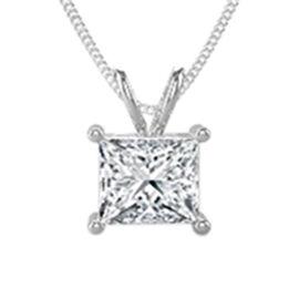 14K White Gold Diamond (I2/G-H) Pendant with Chain 0.50 Ct.