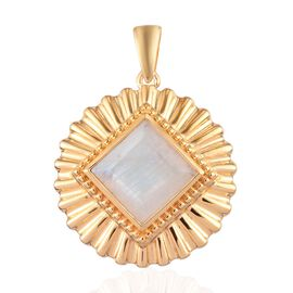 Sundays Child - Rainbow Moonstone Pendant in 14K Gold Overlay Sterling Silver 4.25 Ct.