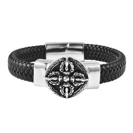 Genuine Braided Leather Black Oxidised Bracelet (Size 7.5)