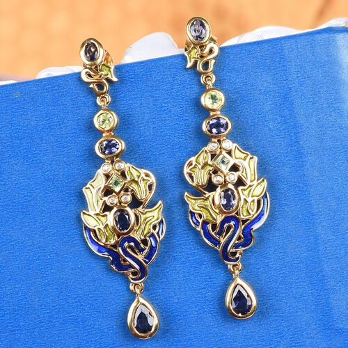 GP Iolite, Hebei Periodt, Natural Cambodian Zircon and Blue Sapphire Dangling Earring in 14K Gold Overlay Sterling Silver 2.00 Ct, Silver wt. 9.00 Gms