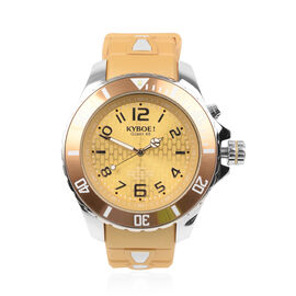 KYBOE Japanese Movement 100M Water Resistant Summer Affair LED Watch in Stainless Steel and Tan Colo