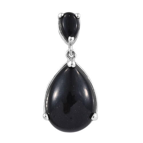 Black Tourmaline (Pear) Drop Pendant in Platinum Overlay Sterling Silver 13.000 Ct