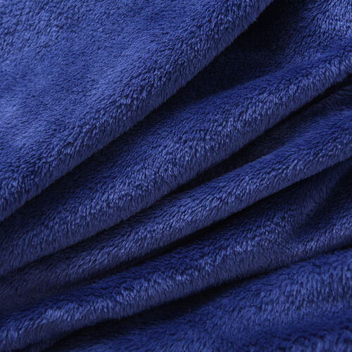 Solid Navy Colour Hooded Plush Wrap with Pockets (Length: 90cm)