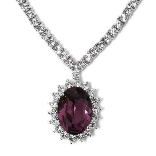 J Francis Crystal from Swarovski- Purple Sapphire Crystal (Ovl), White Crystal Necklace (Size 18 wit