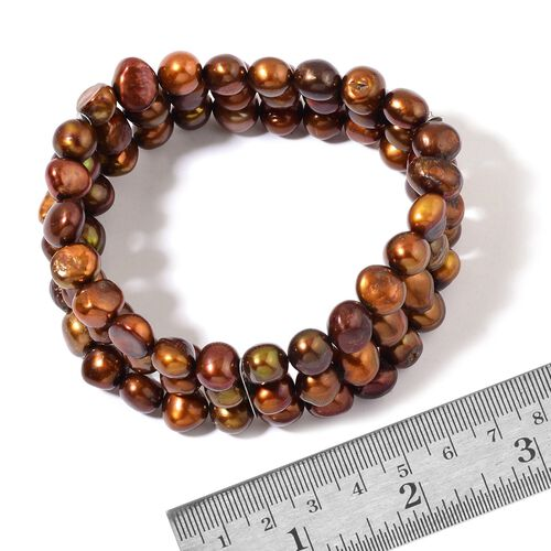 Fresh Water Chocolate Pearl 3 Strand Stretchable Bracelet in Stainless Steel (Size 7.5)
