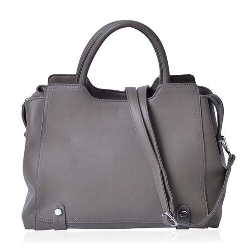 Set of 2 - Dark Grey Colour Large Handbag with Adjustable and Removable Shoulder Strap and Small Handbag (Size 36x25x16Cm, 21x11.5 Cm)