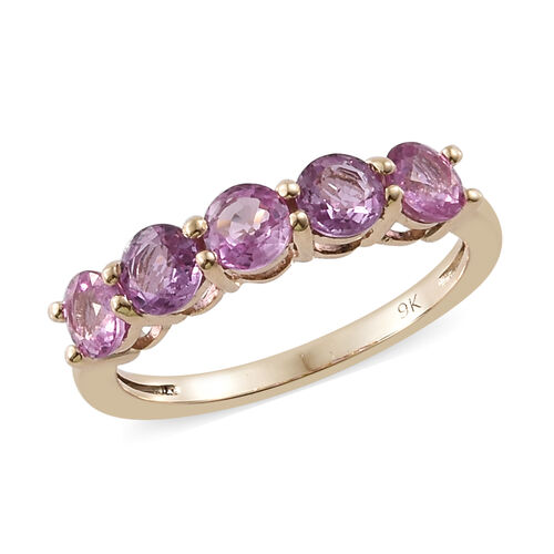 1.55 Ct AAA Pink Sapphire 5 Stone Ring in 9K Gold 1.76 Grams
