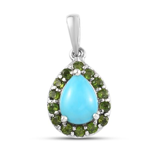 Arizona Sleeping Beauty Turquoise and Russian Diopside Halo Pendant in Platinum Overlay Sterling Sil
