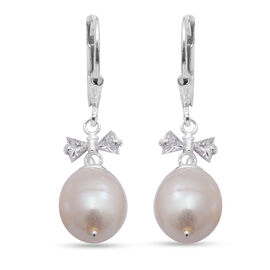 White Freshwater Pearl and Simulated Diamond Drop Earrings (with Lever Back) in Sterling Silver