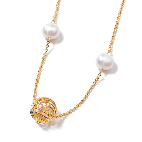 Isabella Liu Sea Rhyme Collection - Freshwater White Pearl and White Mother of Pearl Station Necklace (Size 32) in Yellow Gold Overlay Sterling Silver