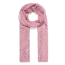 Brand New Scarves - Pink Heart Narrow Metallic Print Scarf - Pink