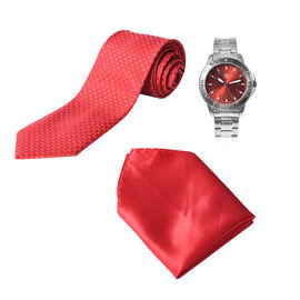 3 Piece Set - STRADA Japanese Movement Water Resistant Watch in Silver Tone and Cherry Red Dial, Sui