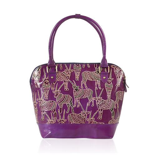 Limited Collection 100% Genuine Leather Plum Colour RFID Blocker Safari Antelope  Handpainted Shoulder Bag (Size 42x30x14 Cm)