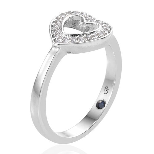 GP Natural Cambodian Zircon (Rnd), Kanchanaburi Blue Sapphire Heart Ring in Platinum Overlay Sterling Silver 0.250 Ct.