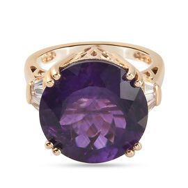 African Amethyst and Natural Cambodian  Zircon Ring in 14K Gold Overlay Sterling Silver 12.Ct,