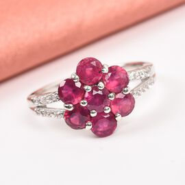 African Ruby (FF), Natural Cambodian Zircon Floral Ring in Platinum Overlay Sterling Silver 2.810 Ct