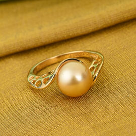 Royal Bali Collection South Sea Golden Pearl Bypass Ring in Yellow Gold Vermeil Sterling Silver