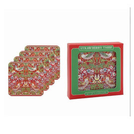 Set of 4 - Lesser & Pavey - Willam Morris Strawberry Thief Red Coasters (10.5x10.5cm)