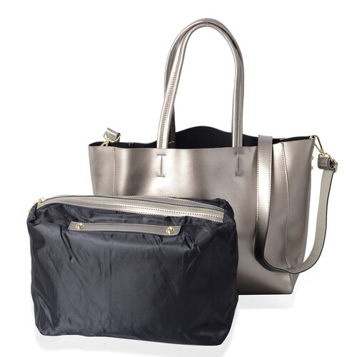 2 Piece Set-100% Genuine Leather Metallic Silver Colour Tote Bag (Size 46x32x29x13 Cm) and Pouch (Si