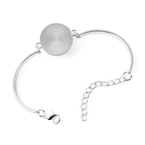 Pressed Flower Adjustable Bracelet (Size 6.5 with 2 inch Extender) in Silver Tone