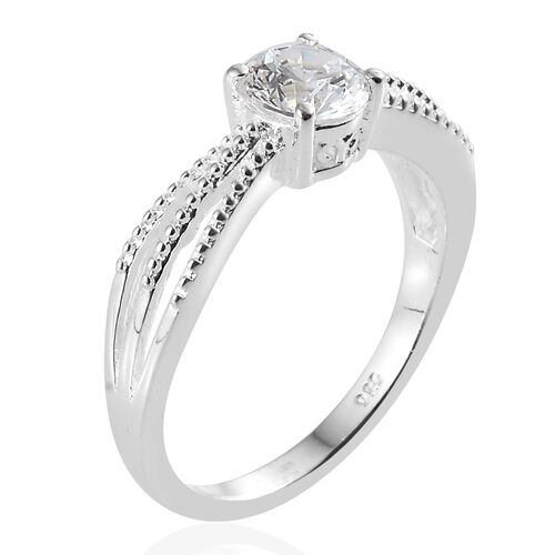 J Francis - Sterling Silver (Rnd) Ring Made with SWAROVSKI ZIRCONIA, Silver wt 3.90 Gms.