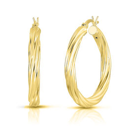 JCK Vegas Collection-  14K Gold Overlay Sterling Silver Twisted Thick Hoop Earrings (with Clasp)