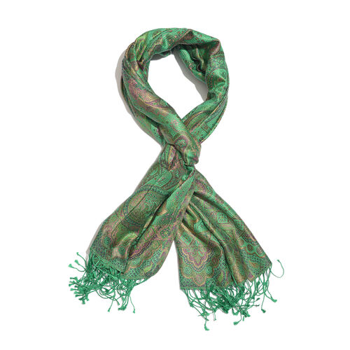 SILK MARK - 100% Superfine Silk Green, Pink and Multi Colour Jacquard Scarf with Fringes (Size 180x7