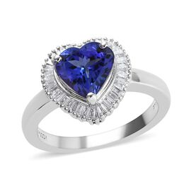 RHAPSODY 950 Platinum AAAA Tanzanite (Hrt), Diamond (VS/E-F) Ring 1.75 Ct, Platinum wt 7.00 Gms