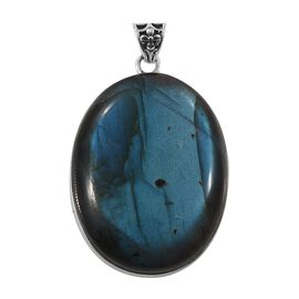 One Time Deal- Artisan Crafted Extremely Rare AAA  Labradorite (Ovl) Pendant in Sterling Silver 62.0