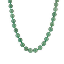 Green Aventurine (Rnd) Beads Necklace (Size 20 with 2 inch Extender) in Stainless Steel 424.00 Ct.