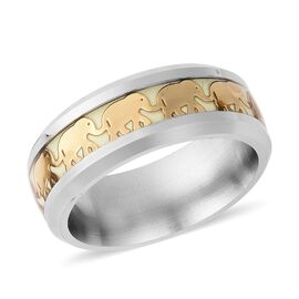 Silver and Gold Tone Glowing in the Dark Elephant Band Ring (Size M)