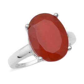 Red Onyx (Ovl 16x12 mm) Solitaire Ring in Sterling Silver 7.50 Ct.